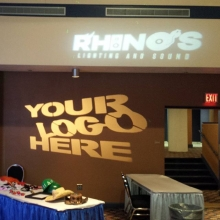 Business to Business expo.  Stand out from the others with your logo in lights.  #yqrbusiness #gobo #monogram #lightingdesign #yqr #rhinosdjs