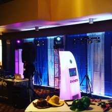 Our booth at the Business to Business expo going on at the Conexus Arts Center #yqrbusiness #yqr #photobooth #truss #movinglights #lightingdesign #djs