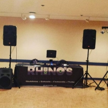 Dj Boss and Dj Odin ready for night 2 at the Conexus Arts Center small business Christmas party.