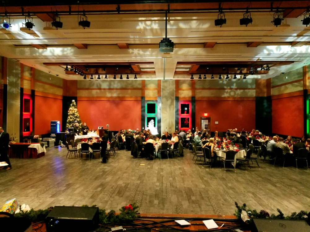 Uplighting and gobo monograms turning this Yorkton venue into a winter wonderland