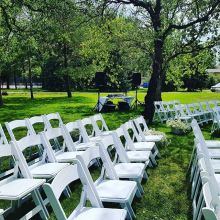 Setup for an outdoor wedding ceremony in Moose Jaw.
