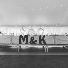 DJ BC all set for an outdoor wedding reception under a tent. Congrats to the newlyweds!