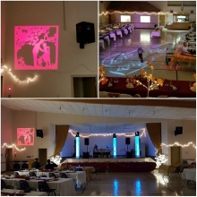 Wedding reception with a custom gobo and a love gobo moving around the room.
