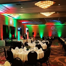 All set for another office Christmas party.  We provided DJ, sound reinforcement, Up Lighting, DJ lighting and a photo booth
