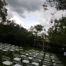 The rain broke just long enough for the ceremony!