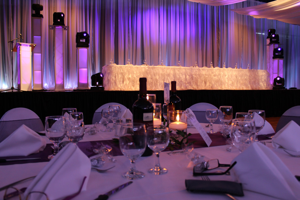 Purple up lighting included with a DJ package in Regina Saskatchewan