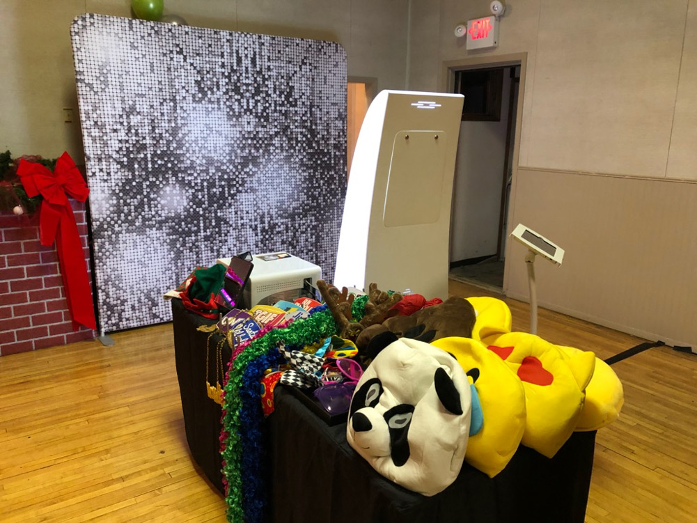 Open Air Photo Booth setup at a corporate holiday party
